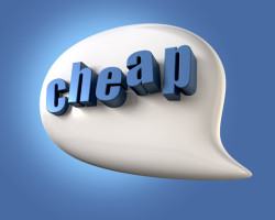 A white speech bubble with the extruded word cheap in blue on a blue backgound